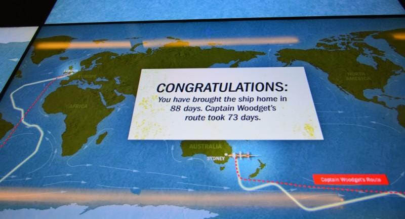 """Die Cutty Sark von Sydney nach London gesegelt (virtuel). Der Weg war richtig, die Steuerkünste noch bescheiden. immerhin bin ich angekommen. Die Leute vor und nach mir :  """"The ship is wrecked!"""""""