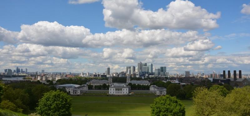 Einwirklich sehenswertes Panorama von London von Observatorium Greenwich.