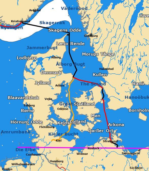 Norwegen bis Deutschland